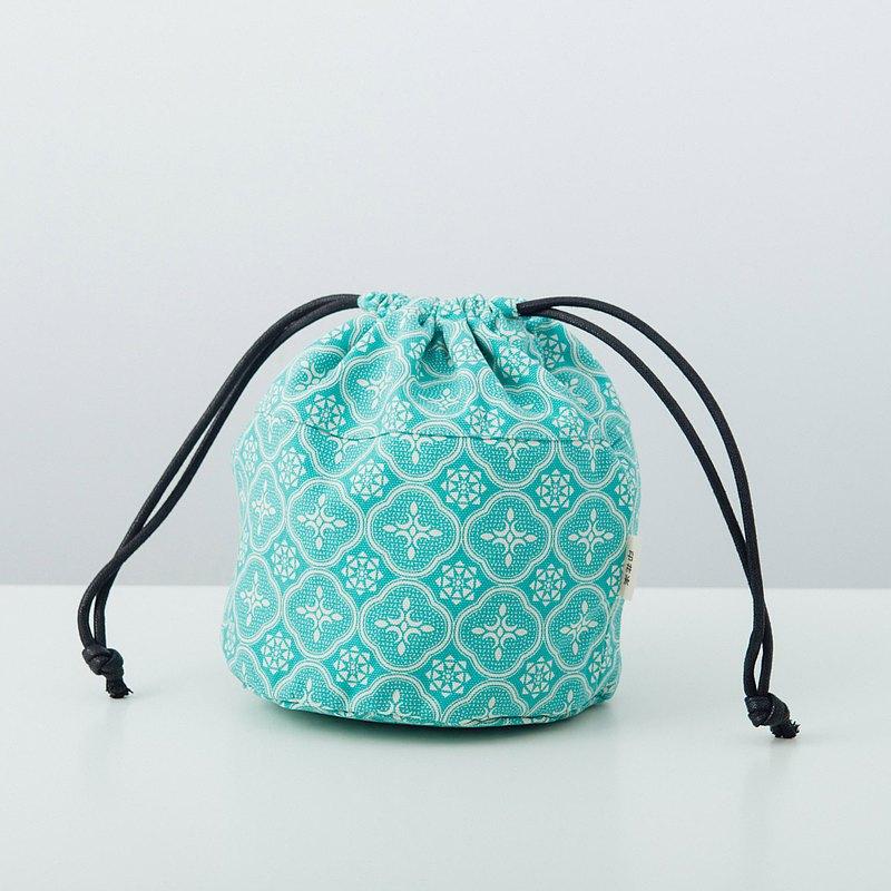 球型束口袋/玻璃海棠/冰晶藍綠