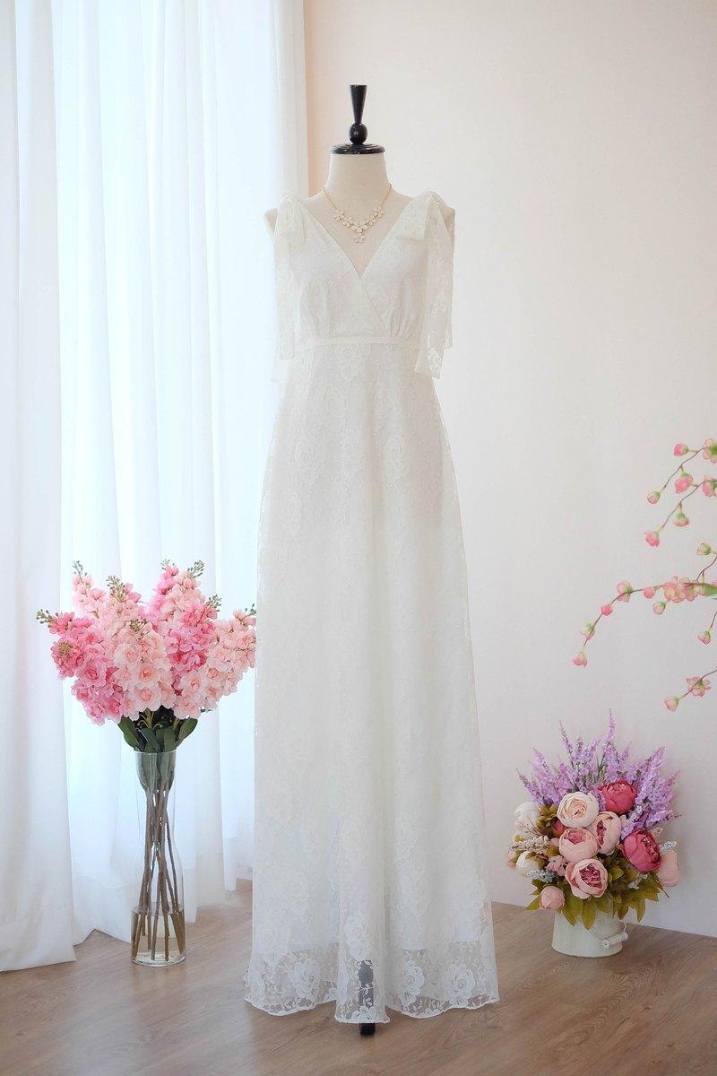 白色蕾絲禮服新娘禮服蕾絲伴娘禮服長款派對雞尾酒禮服