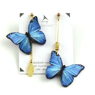 humming-Embroidery earrings   Morpho menelaus