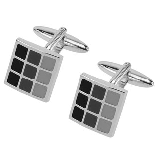 Black Tonal Enamel Checker Cufflinks