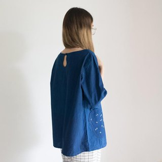 Hyotan blouse | Natural cotton deep blue dye indigo