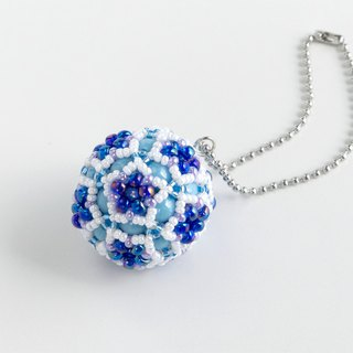 Blue & White christmas ornament, star flower ball charm, beaded ball, star ball key chain, beadwork, beaded sphere, 379