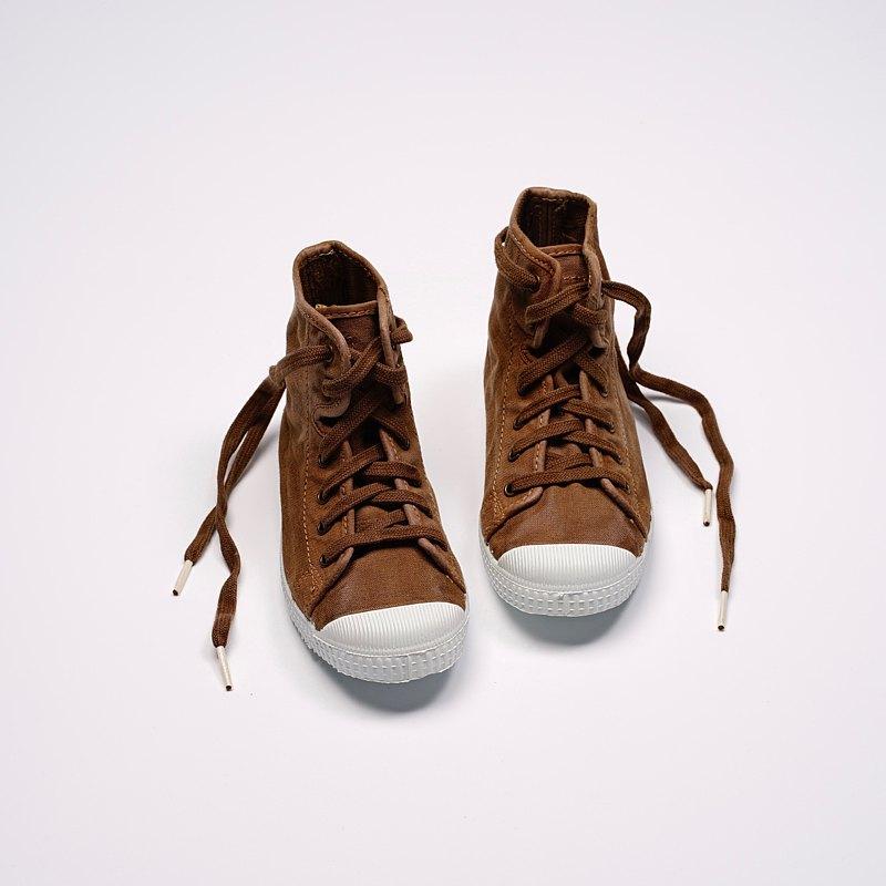 西班牙帆布鞋 CIENTA 61777 132 咖啡色 洗舊布料 童鞋 高筒