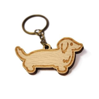 Dachshund / [forest tricks - exclusive sale] / intestinal / hairy children / wooden / wood key ring / gift / custom