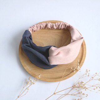 MaryWil Two-tone Suede Hairband - Dark Blue/Pink