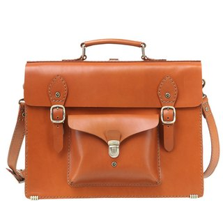 JIMMY RACING British leather portable diagonal back 3way briefcase - Camel 04166006