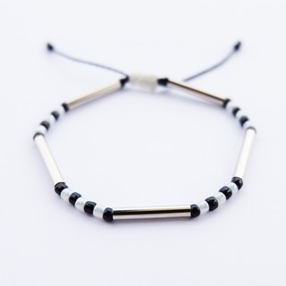 White black seed beads silver tube dark blue string bracelet