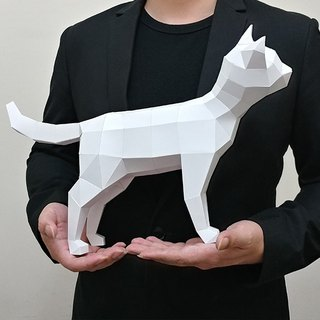 3D paper model _ curious cat _DIY Kits_ hand-made combination