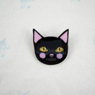 Smiling cat - black cat pin