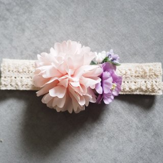 Girlish baby headband/ accessory with Pink fabric flowers