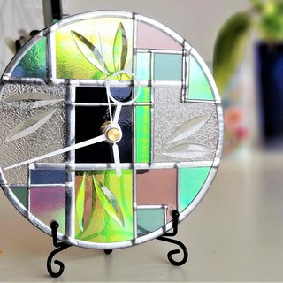 Beveled glass, wall mounted desktop dual-purpose watch  Art Deco