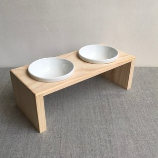 Solid wood pet dining table double bowl with porcelain bowl waterproof