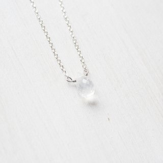 【JUNE 6-birthstone- Moonstone】lucky clavicle silver necklace  (adjustable)