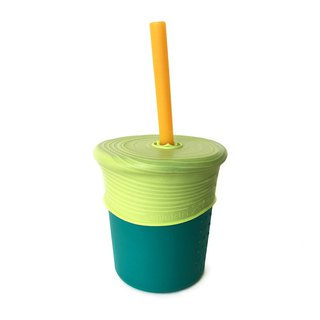 [Eco-friendly tableware] United States silikids Jelly Tableware Environmental Straw Cup Set – Silicone Straw Cup Set