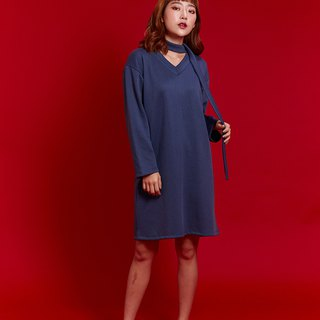 V neck dress (Navy)