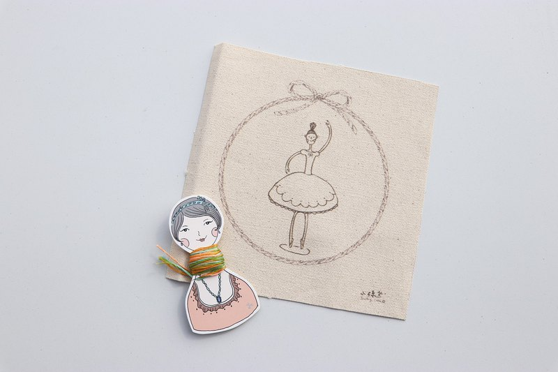 The first ballet illustration embroidery material package