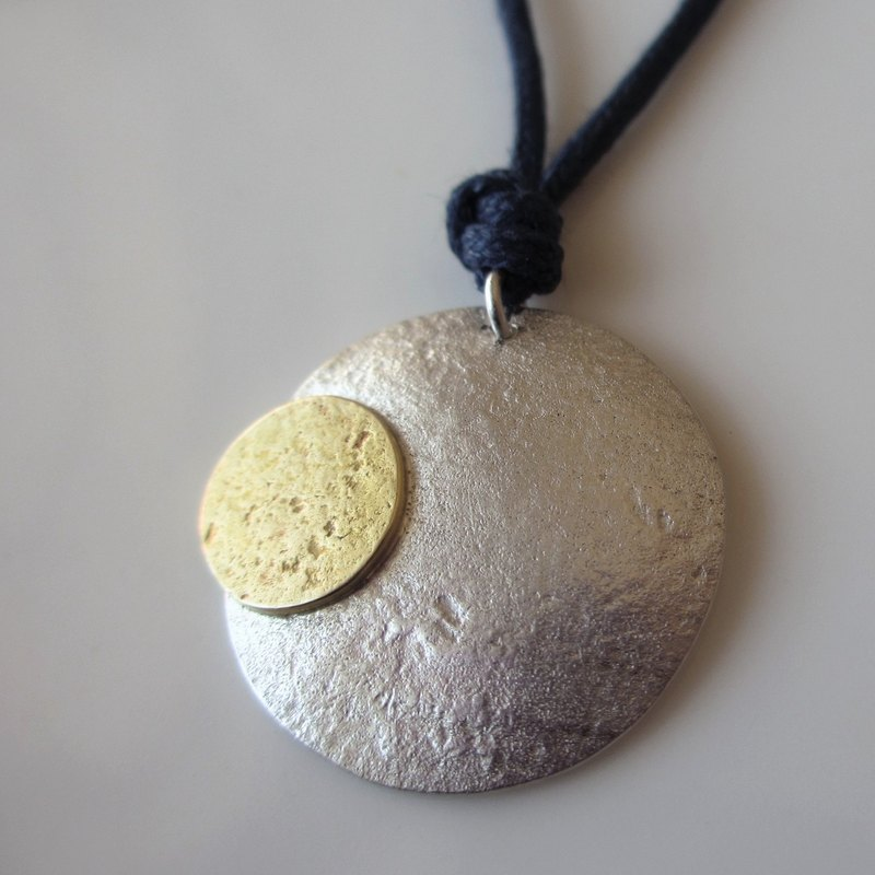 MOON  Silver/Brass Necklace