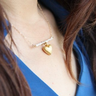 Puff Heart Pearl 14KGF Necklace / Poppf hart water pearl 14KGF necklace