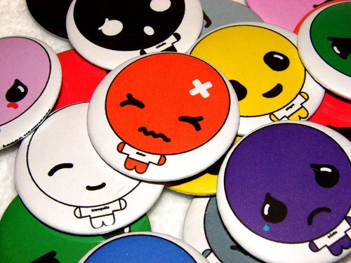 Emotions Pinback Buttons - Button Badge - Pin Badge 44mm - Emotions