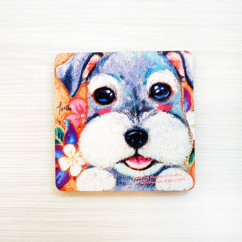Illustration wooden coaster - melting Schnauzer
