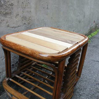 Reconstructed wood splicing tabletop rattan