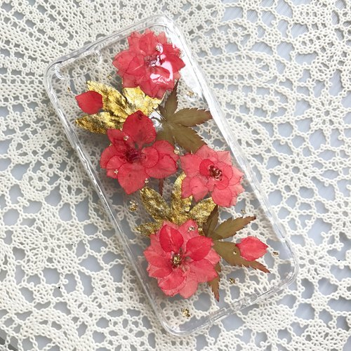 iPhone 7 手機殼 Dry Pressed Flowers Case 押花 乾燥花 紅色 壓花 004