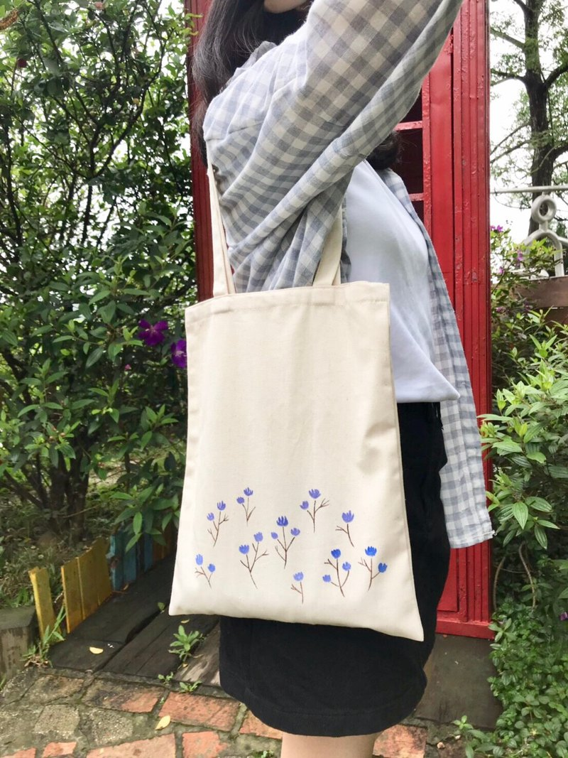 Hand painted canvas bag small flower