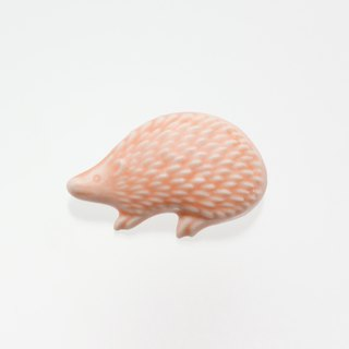ceramics brooch hedgehog rose pink