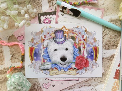 Happy every day - Dog Whisperer floral postcard (Single) Series -