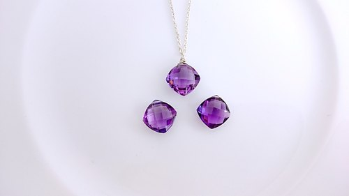 Muse box / Paraguay amethyst, sterling silver necklaces