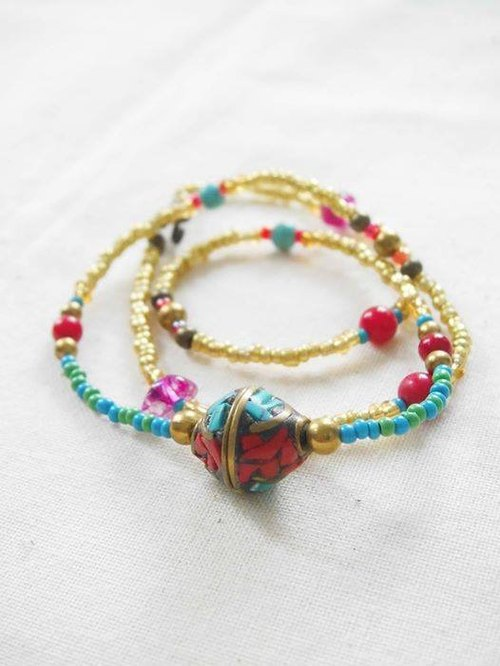 [Dual three times bracelet necklace] Tibetan handmade turquoise stone beads Czech beads red coral necklace simple retro handmade bracelet necklace nostalgic personality neutral gift
