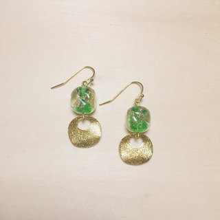 Retro Light Green Rounded Square Gold Silver Foil Glass Earrings