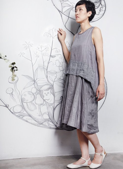And Sleeveless flax dress _limited edition_online only
