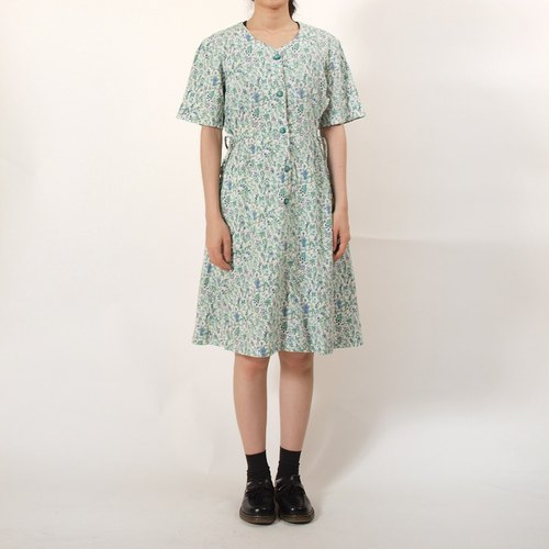 │moderato│ natural forest department cotton hand-painted watercolor vintage dress | Retro Girl London European Art.
