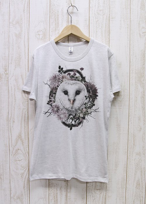 ronron BARNOWL Tee Flower Frame (Heather White) / RPT 025 - HWH