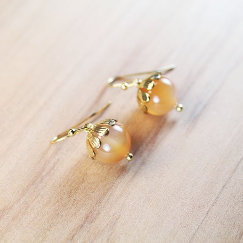 【Collection of gold lake】 longevity earrings gold cottage section | clip-style earrings needle earrings can be changed for sterling silver needles | color agate | brass plated 18K gold | natural stone earrings, Chinese ancient style jewelry E16