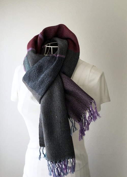 "[Cotton & wool: Fall-Winter Spring] unisex: hand-woven stall ""Brown & Purple"""