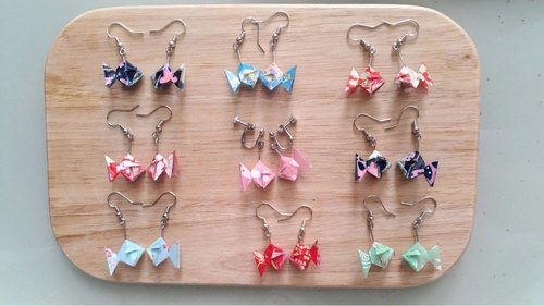 Origami Gold Fish Earrings (Or Ear Clips)_Page 3 (Total 3 Pages for choose)