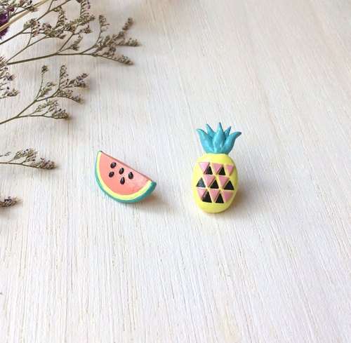 Mixed Fruit collection! Melon and Pineapple earrings, Fruit earrings