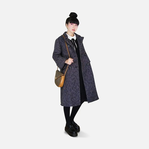 A‧PRANK: DOLLY :: VINTAGE mix of retro with capillary plaid double-breasted wool collar shape sailboat stacked material long sleeved coat jacket sleeve turn