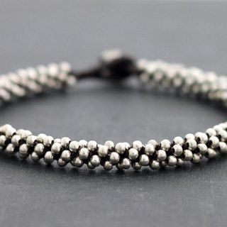 Silver Bead Weaving Anklets Woven Beaded Cuff Ankle Bracelets