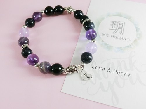 Black and white natural stone beaded silver bracelet - purple black - Yue unicorn-925 sterling silver silver gift entry