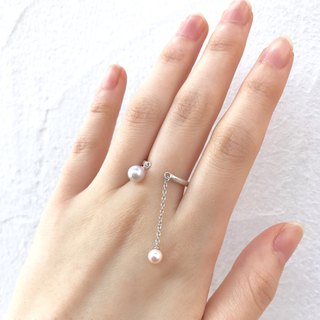 Akoya pearl's swaying spring ring