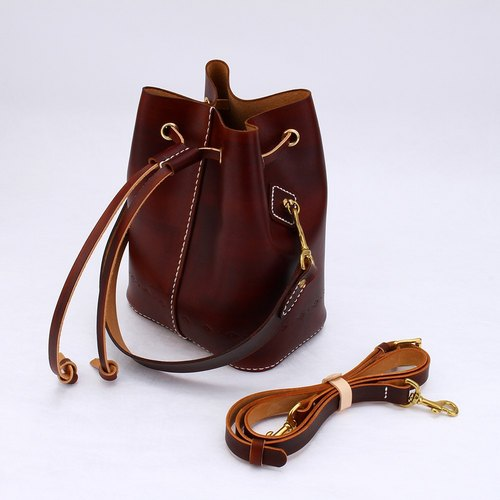 [Cut line] bucket bag pure hand sewn tanned leather leather ladies shoulder bag carved shoulder bag handbag side hand dyed chocolate color