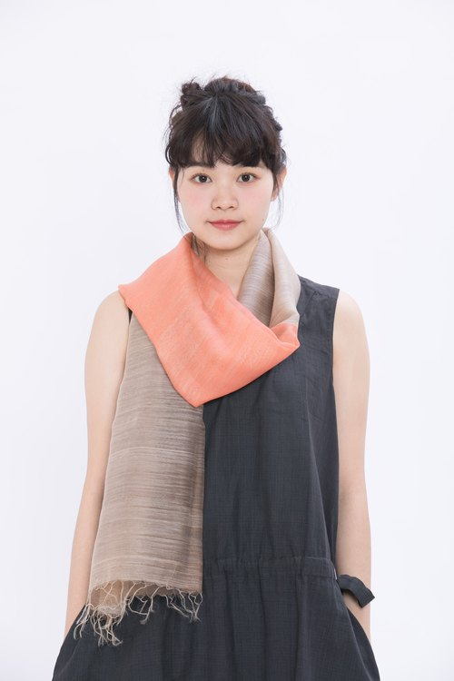 Huguangshan color silk + wool scarf _ cherry blossom _ fair trade