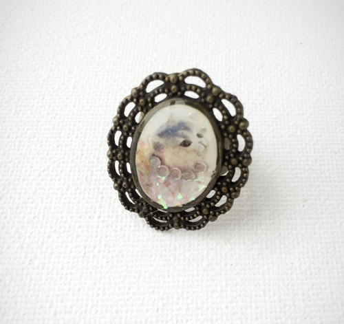 House of Cats Vintage Cat with Necklace Handmade Ring