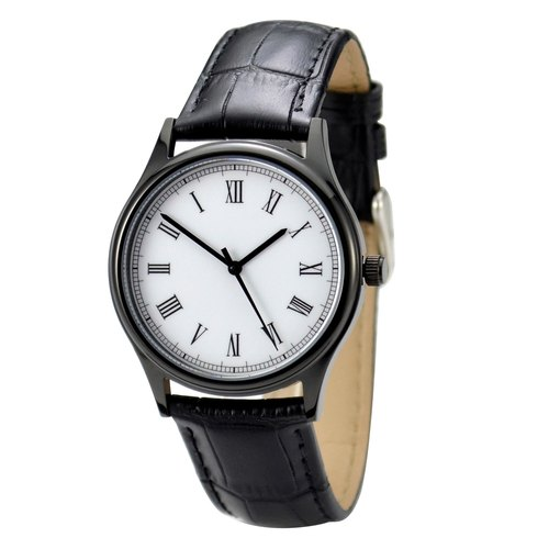 Backwards Watch Roman Black Case Unisex Free shipping worldwide