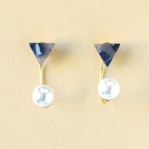 Marble labia / Impressionist Triangle Ink Blue Pearl / Mosaic Front and Back Two Wear 2 way Earrings / Ear Clip (EP011)