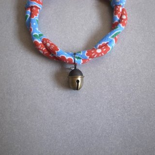 Japanese cat collar【Nordic Cloth Adjustable】Azure & Acorn Bell_S size