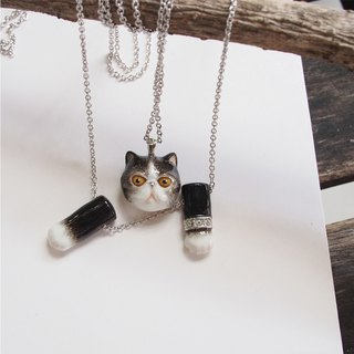 Head and Paw Cat necklace